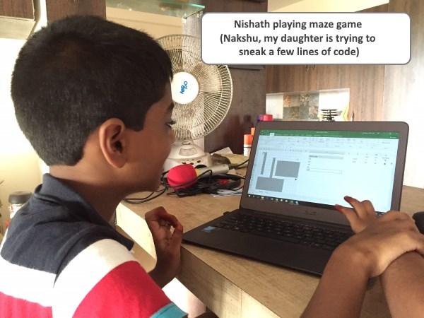 nishanth playing maze game