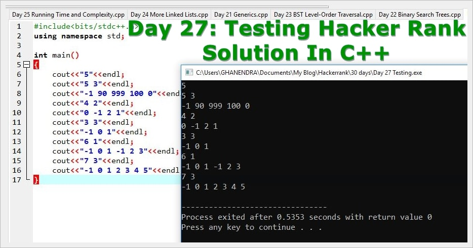 Day 27 Testing Hacker Rank Solution In C | Code Live