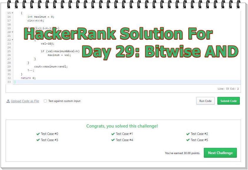 HackerRank Solution For Day 29 Bitwise AND | Code Live