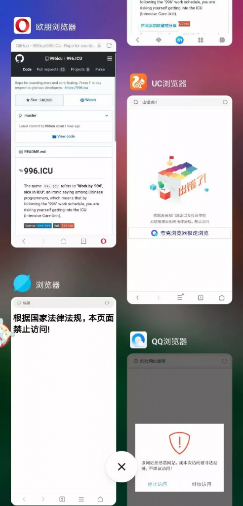 China technology company's browser blacklisted 996.ICU